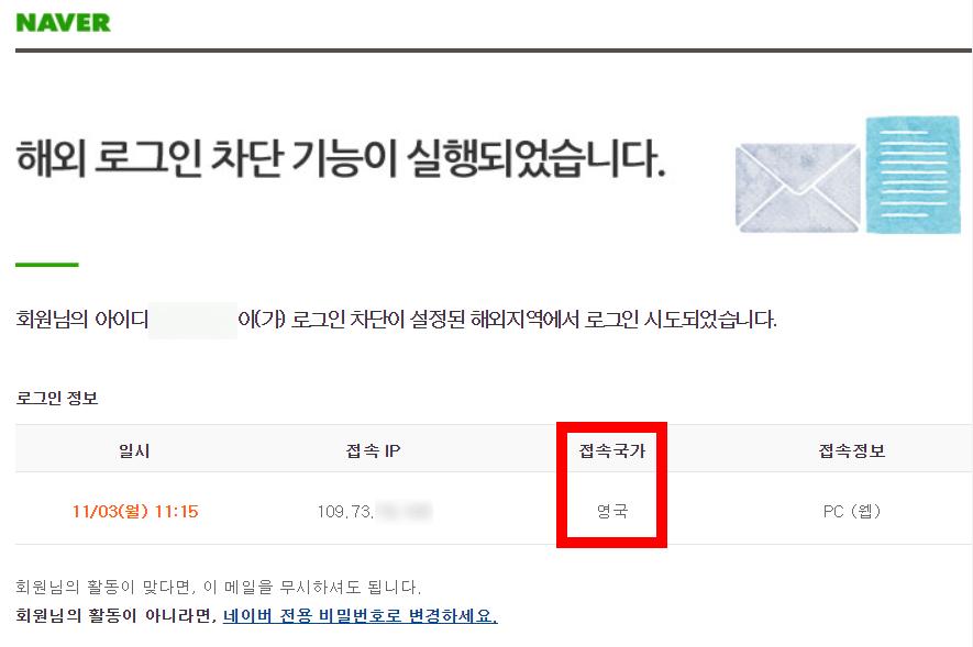네이버 해외로그인 차단 메일 내용