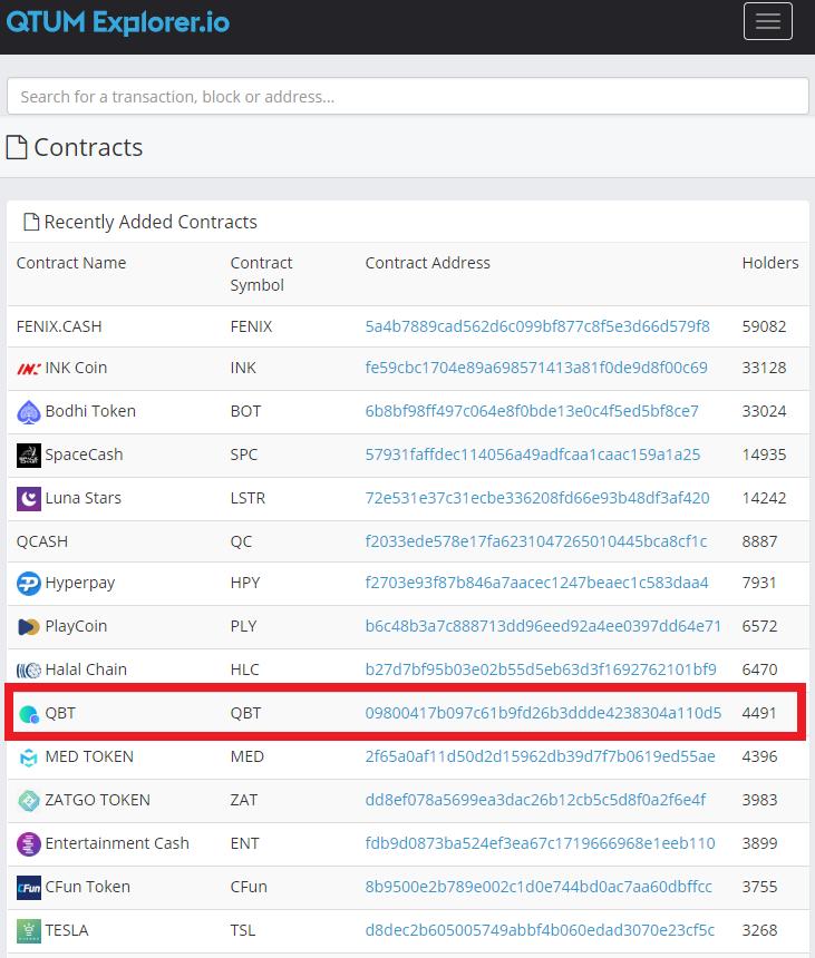 Qtumexplorer.io에서 토큰들의 컨트렉트 주소 리스트를 확인할 수 있다.