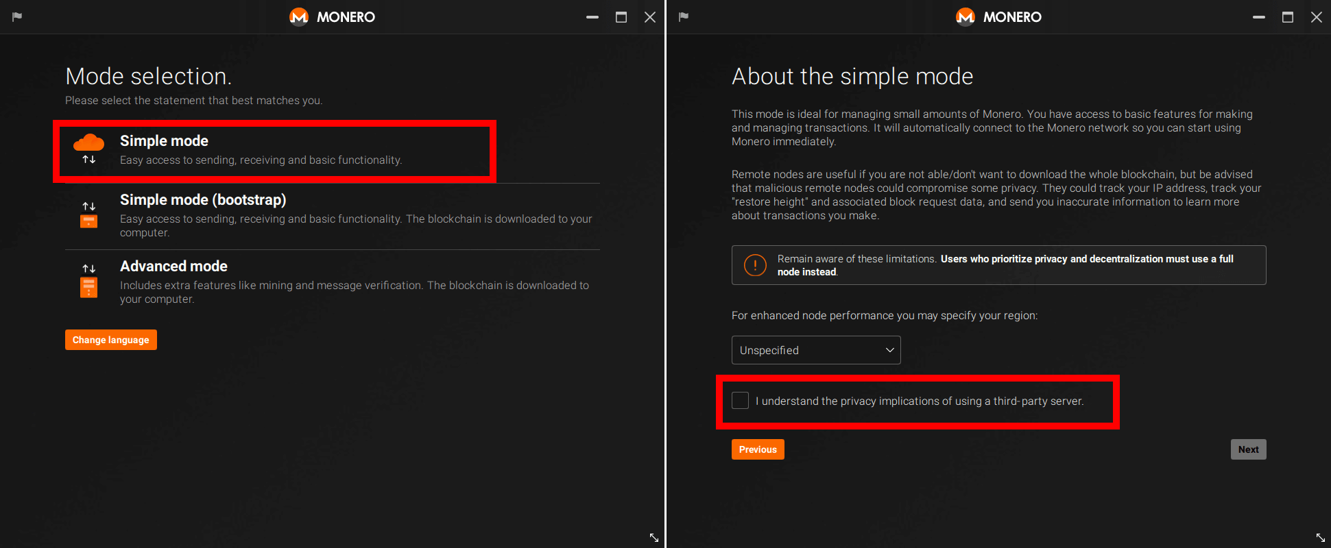 Mode 선택 : Simple mode